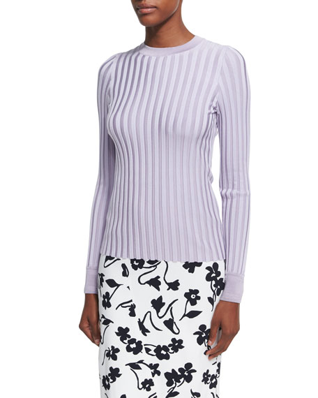 Regan Wide-Rib Sweater, Lilac