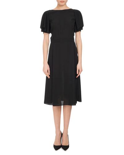 Emma Plissé-Sleeve A-Line Dress, Black