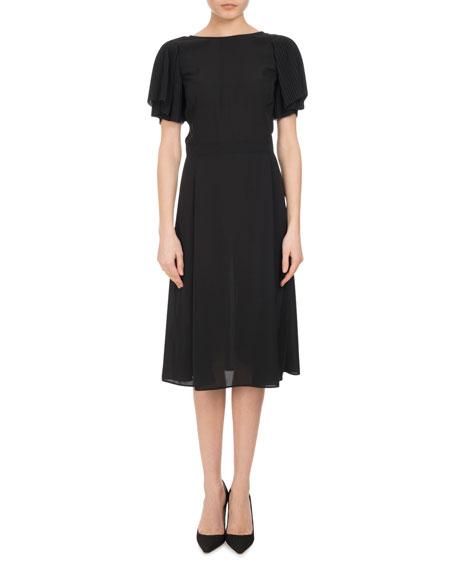 Altuzarra Emma Pliss??-Sleeve A-Line Dress, Black