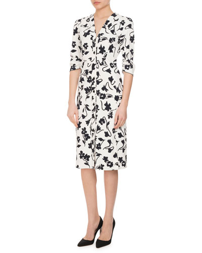 Aimee Abstract-Floral 3/4-Sleeve Dress, White