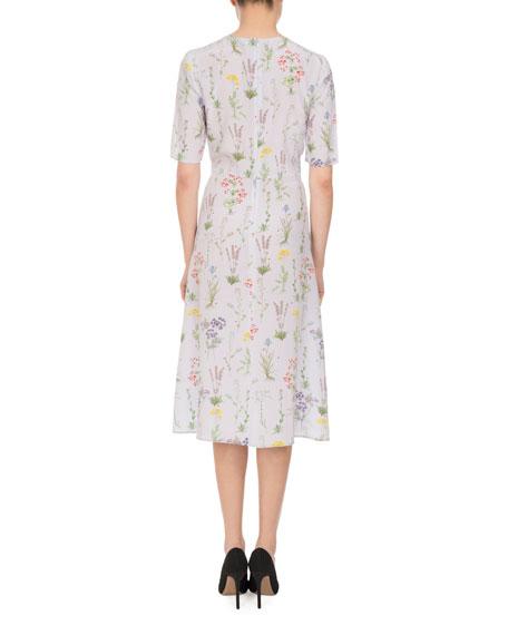 Sylvia Botanical Silk Elbow-Sleeve Dress, Lilac
