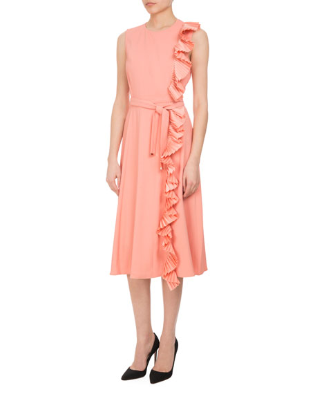 Lavinia Pleated-Trim Midi Dress with Belt, Pink