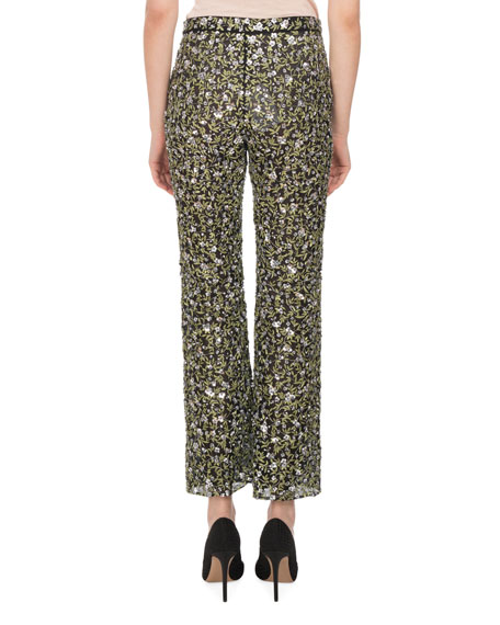 Dante Sequined Floral-Embroidered Silk Flare-Leg Pants, Black