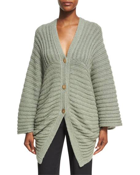 Rosetta Getty Chunky Ribbed Alpaca-Blend Cocoon Cardigan, Sage