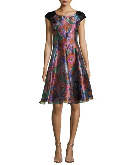 Armani Collezioni Floral Jacquard Cap-Sleeve Fit & Flare