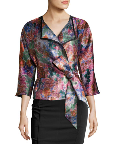 Floral Jacquard Draped Jacket with Belt, Multicolor