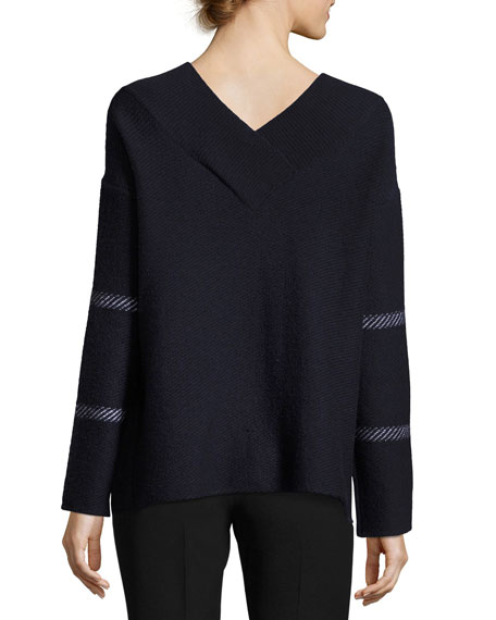 Check Virgin Wool-Cashmere V-Neck Sweater, Navy