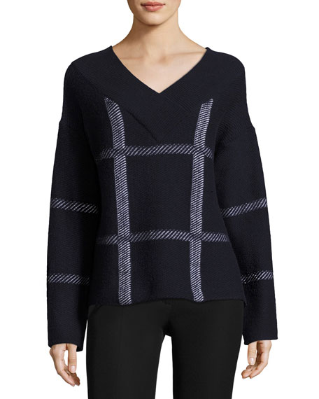 Armani Collezioni Check Virgin Wool-Cashmere V-Neck Sweater, Navy