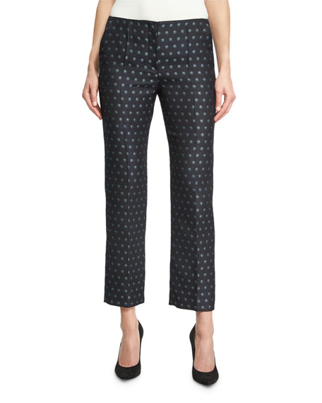 Dot Jacquard Slim Cropped Pants, Blue Pattern
