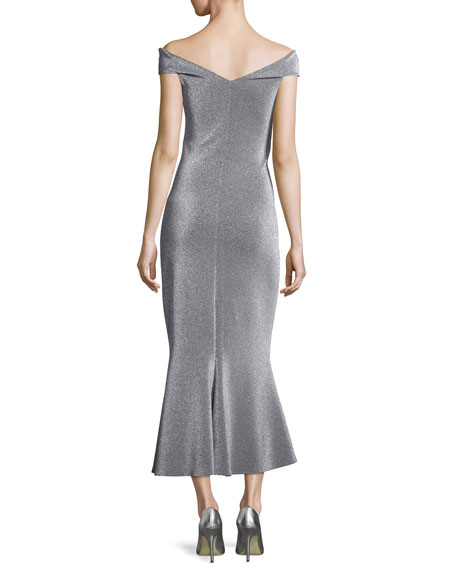 Off-the-Shoulder Metallic Evening Dress, Silver