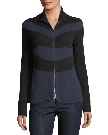Zip-Front Striped Cashmere Cardigan