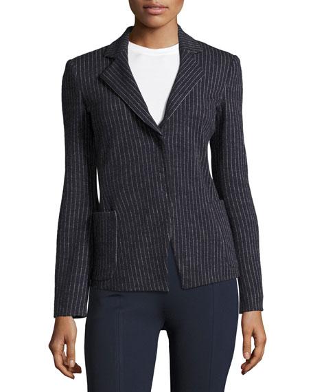 Pinstripe Jersey Blazer, Indigo