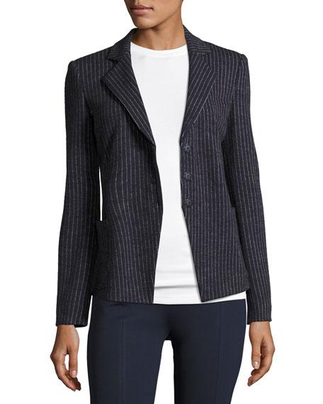 Armani Collezioni Pinstripe Jersey Blazer, Indigo and Matching