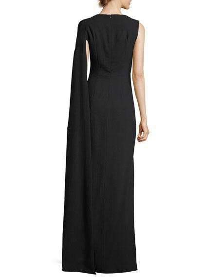 Cape-Sleeve Column Gown, Black