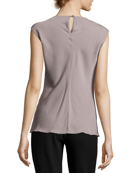 Sleeveless Matte Silk Draped Asymmetric Blouse, COLOR