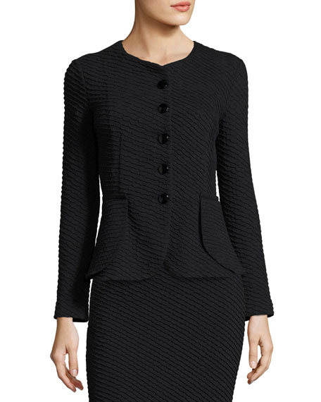 Armani Collezioni Diagonal Jacquard Peplum Jacket, Navy and