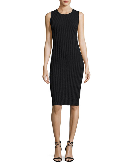 Armani Collezioni Diagonal Jacquard Sleeveless Sheath Dress,