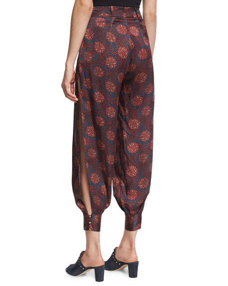 Alice Maritime-Print Silk Harem Pants, Purple