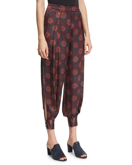 Haney Alice Maritime-Print Silk Harem Pants, Purple