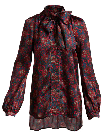 Diane Maritime-Print Silk Tie-Neck Shirt, Purple