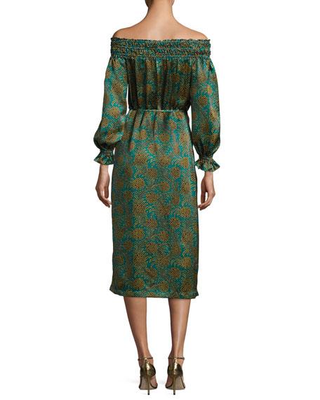 Flora Silk Satin Off-the-Shoulder Midi Dress