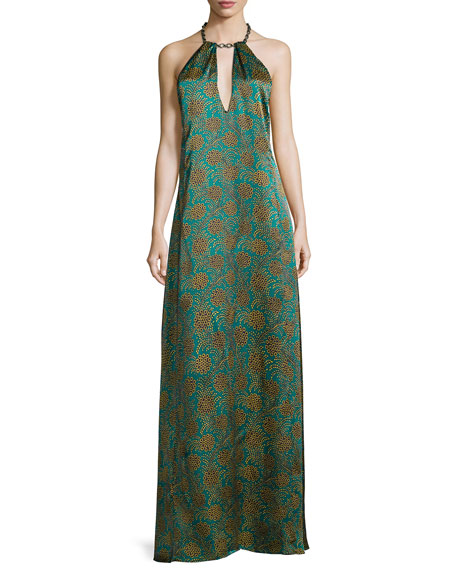 Haney Cleo Floral-Print Halter Gown, Blue