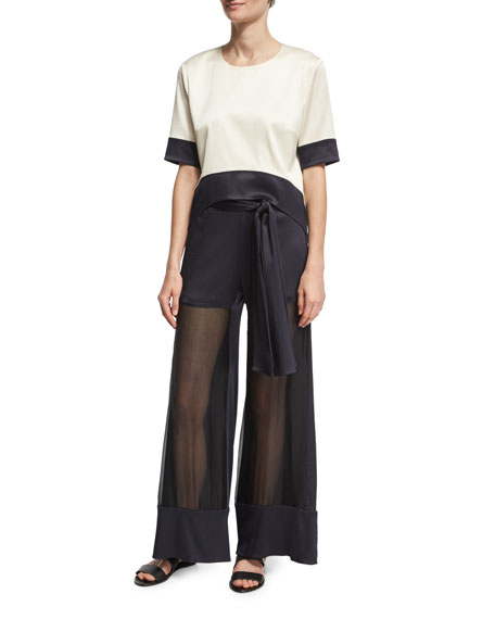 Lola Belted Sheer-Front Wide-Leg Pants, Navy