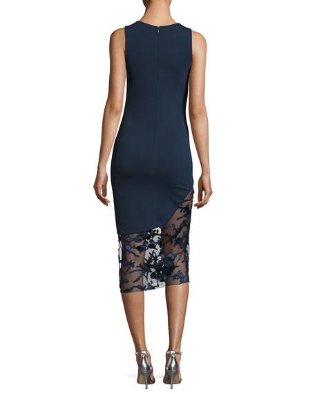 Natasha Lace-Inset Sleeveless Sheath Dress, Navy