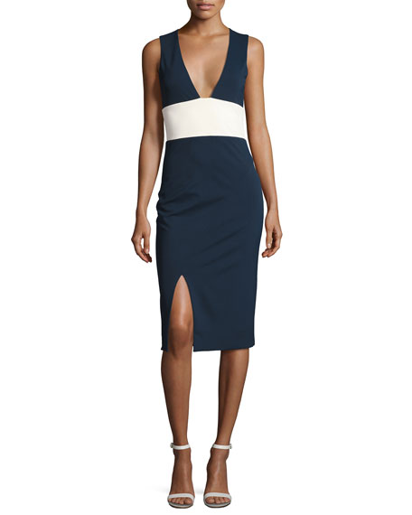 Haney Lise Colorblock Sleeveless V-Neck Sheath Dress, Blue/White