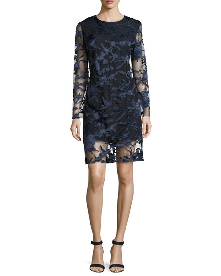 Clara Laser-Cut Lace Shift Dress, Navy