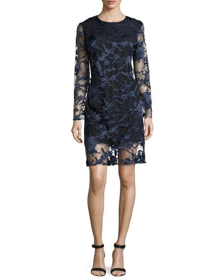 Clara Laser-Cut Lace Shift Dress, Navy