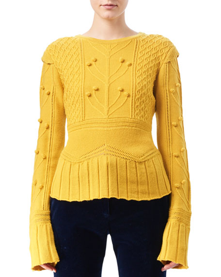 Altuzarra Katie Cable-Knit Peplum Sweater, Yellow