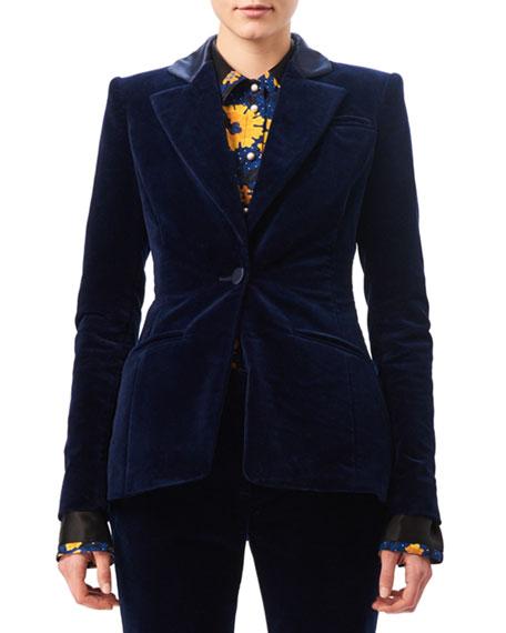 Altuzarra Acacia Velvet Satin-Collar Blazer, Blue