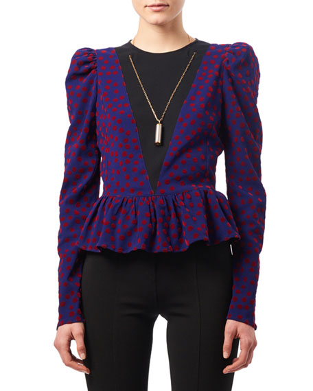 Pasqua Flocked Dot Peplum Top with Necklace, Red/Blue