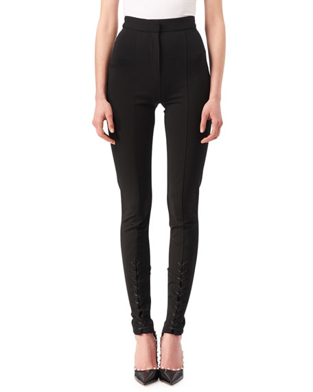 Altuzarra Bennett High-Waist Leggings with Lace-Up Hem, Black