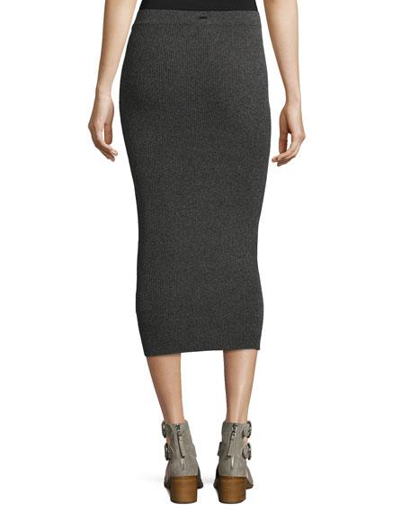 Ribbed Midi Tube Skirt, Gray