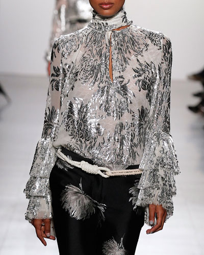 Prabal Gurung  METALLIC FLORAL-EMBROIDERED BLOUSE, SILVER