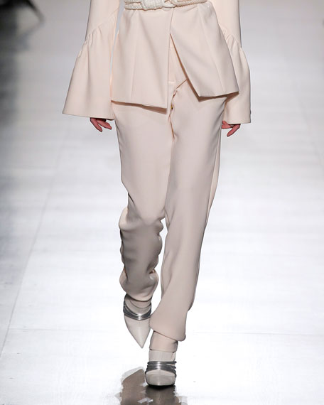 Classic Straight-Leg Flat-Front Trousers, Ivory