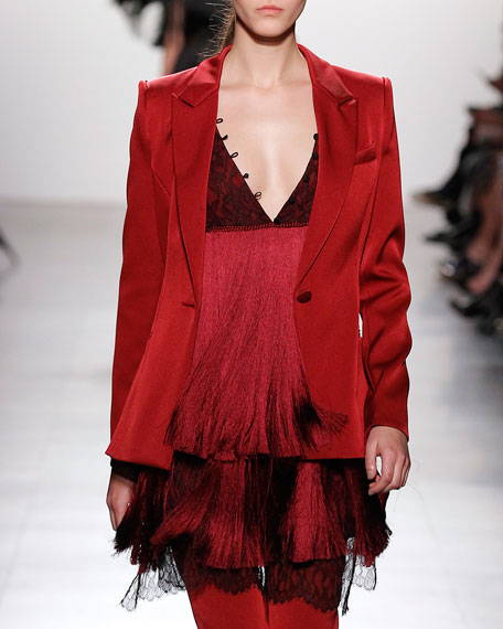 Prabal Gurung Classic Peak-Lapel Single-Button Blazer, Garnet and