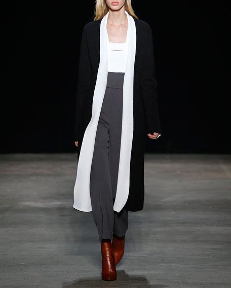 Textured Sleeveless Cutout Top, White/Black