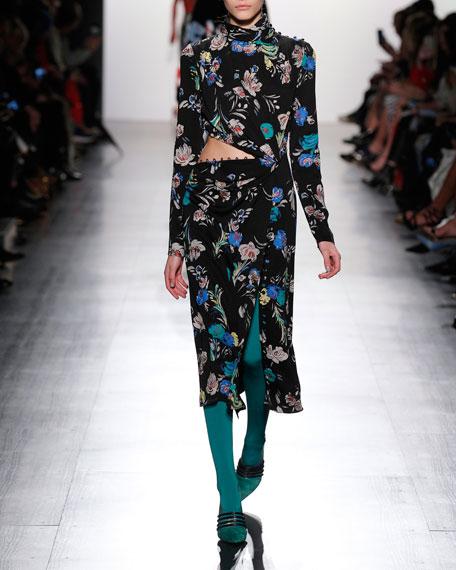 Prabal Gurung Floral-Print Draped Cutout Midi Dress,