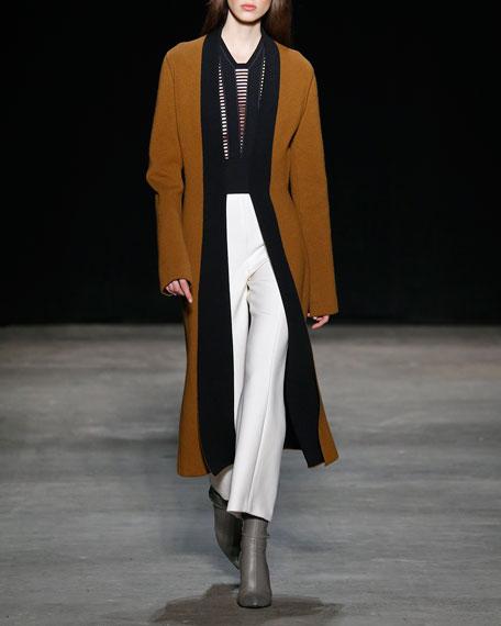 Narciso Rodriquez Wool Gauze Cropped Straight-Leg Pants, Ivory