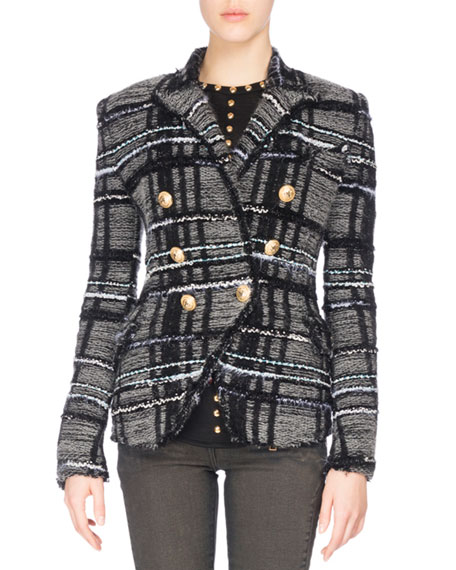 Balmain Tweed Tartan Jacket, Black/Gray