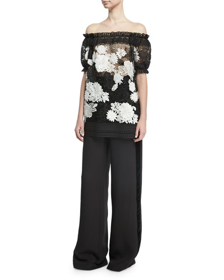 Wide-Leg Velvet-Trim Tuxedo Pants, Black