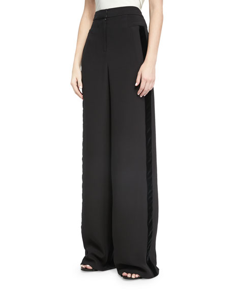 Naeem Khan Wide-Leg Velvet-Trim Tuxedo Pants, Black