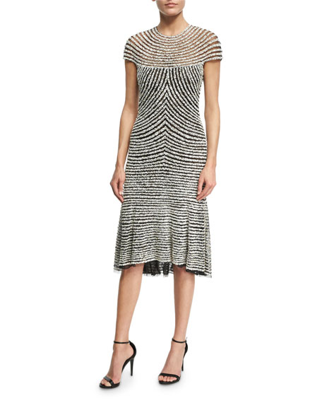 NAEEM KHAN Beaded Cap-Sleeve Cocktail Dress, Black/Silver