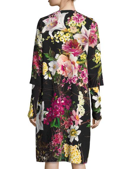 Floral-Print 3/4-Sleeve Coat, Black