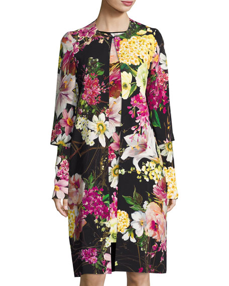 Floral-Print 3/4-Sleeve Coat, Black