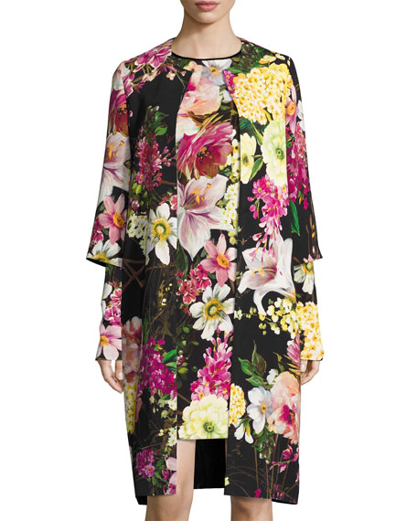 Naeem Khan Floral-Print 3/4-Sleeve Coat, Black and Matching