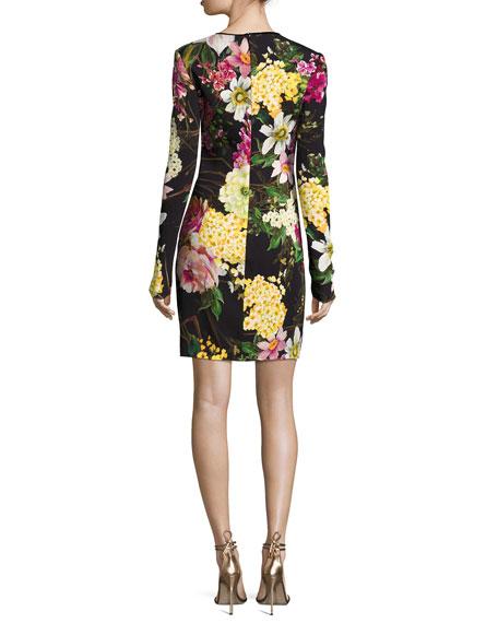 Long-Sleeve Floral-Print Dress